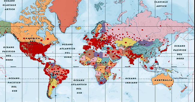 Mappa mondo covid 19-vivilanotizia